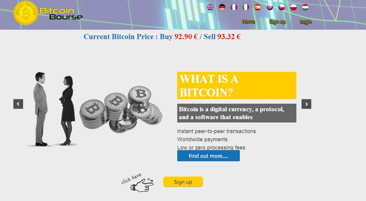 Bitcoin Bourse Screenshot