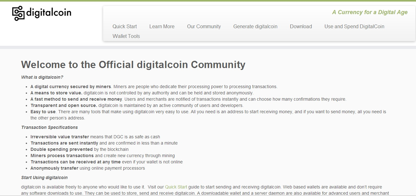 DigitalCoin Screenshot
