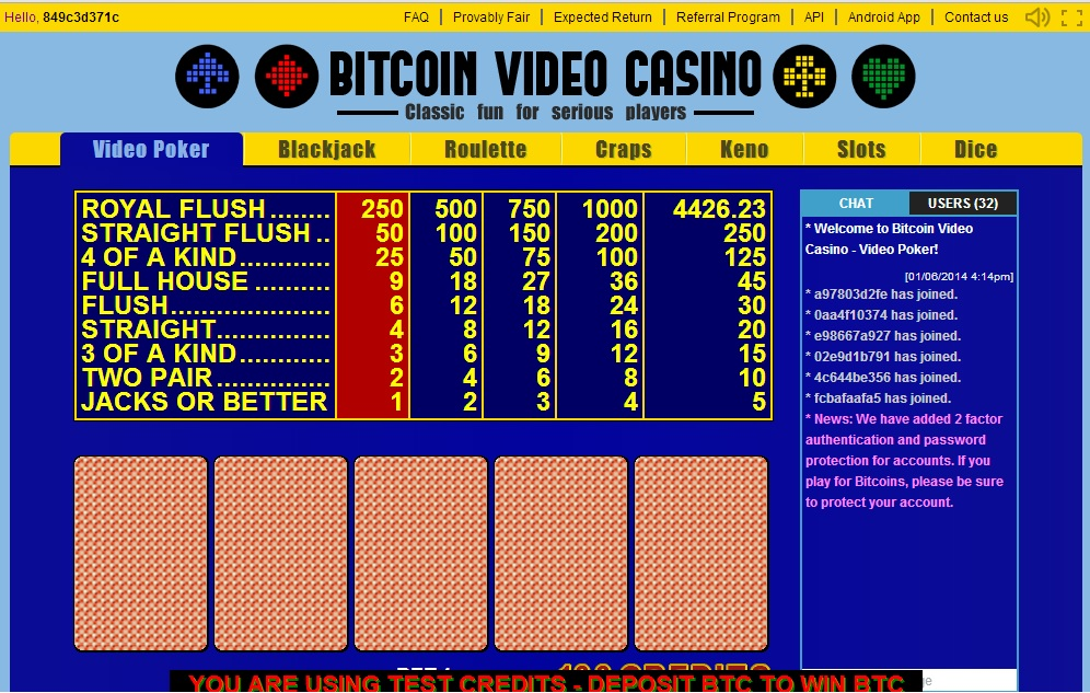bitcoin video casino screenshot