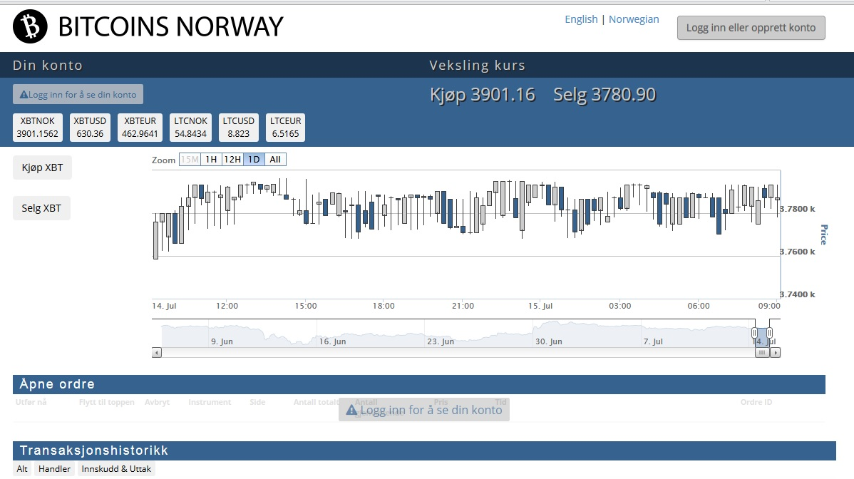 Bitcoins Norway Screenshot