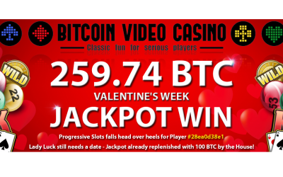 Bitcoin Video Casino Player Wins Huge 259.74 BTC Jackpot!
