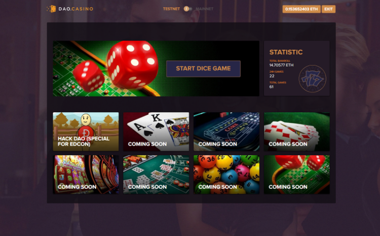 DAO.Casino Announces the Alpha Release of Its Decentralized Casino Platform and Smart Contract Backed Dice Game