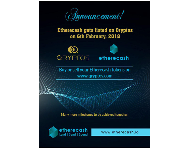 Top P2P Cryptocurrency Token Etherecash Gets Listed on QRYPTOS, Following Successful Crowdsale